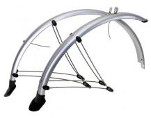 """Blatníky celoobvodové z flexibilního plastu MTB pro 26"""" kola + zástěrky+ vzpěry šířka 60mm barva stříbrná"""