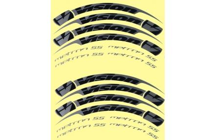 Nálepky na ráfky VISION Metron 55 Tubular, šedé