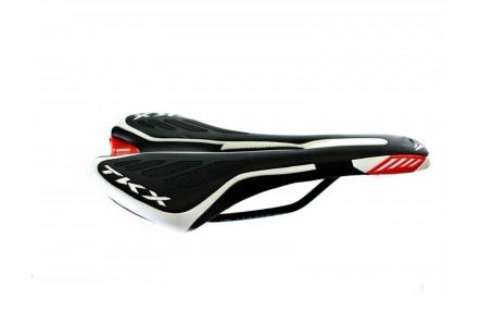 Sedlo TRX S s dírou sportovní , barva černo-bílo-červená