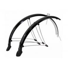 """Blatníky celoobvodové z flexibilního plastu trekkingové pro 28"""" kola + zástěrky+ vzpěry šířka 45mm barva černá"""