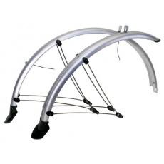 """Blatníky celoobvodové z flexibilního plastu trekkingové pro 28"""" kola + zástěrky+ vzpěry šířka 45mm barva stříbrná"""