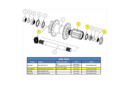 FH-117K-01 Freehub BodyandRing Nut(8) service kit for GRX-1602 w/Bearing(9)/Seal(11)/Ring Nut