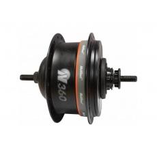 Zadní náboj s vnitěním řazením NuVinci N360 , pro V-brzdy , bez řazení + příslušenství - černá barva , 36 děr