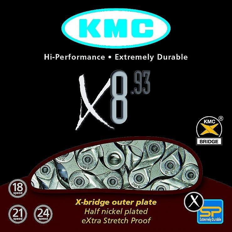 ŘETĚZ KMC X-8.93 BOX STŘÍBRNO/ŠEDÝ